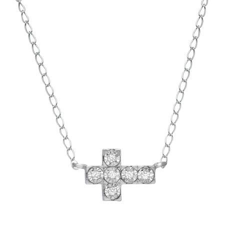 Sideways cross necklace with diamonds in sterling silver sideways sideways cross necklace with diamonds aloadofball Gallery