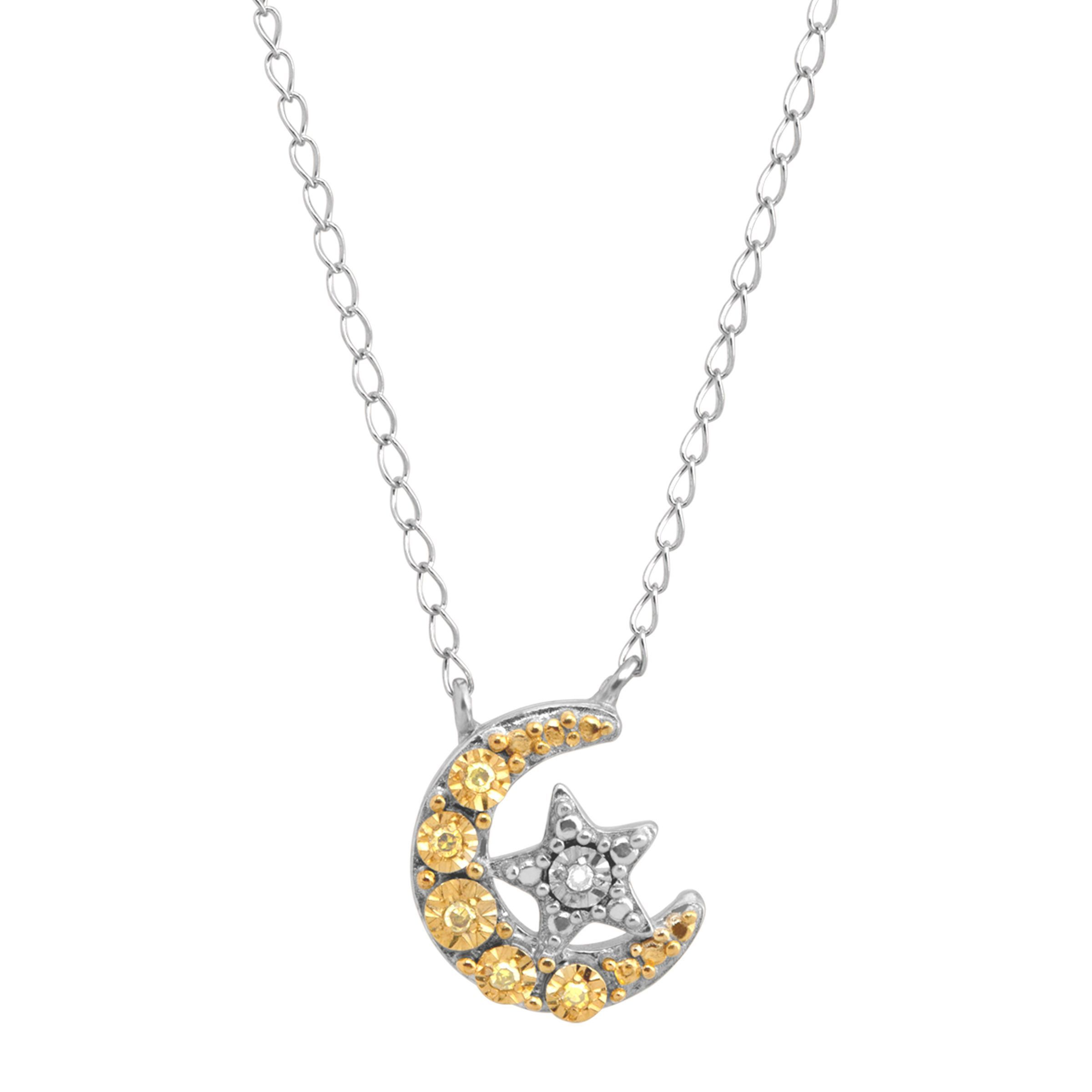 6639905b5 Details about Moon & Star Necklace with Diamonds in Sterling Silver & Gold  Plate, 17