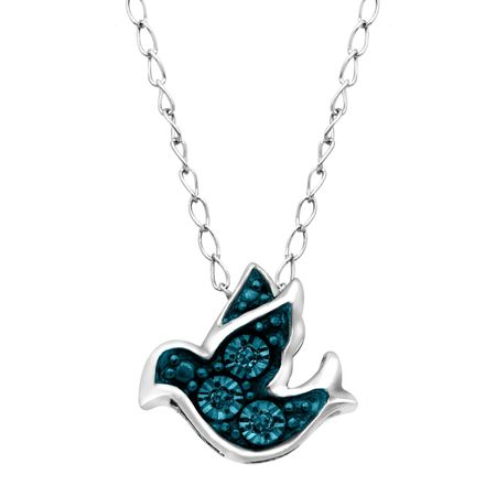 Teeny Tiny Bird Pendant with Blue Diamonds