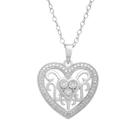 Filigree heart pendant with diamonds in sterling silver filigree filigree heart pendant with diamonds aloadofball Gallery