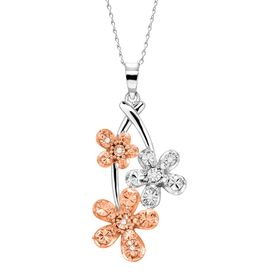 Triple Flower Pendant Necklace with Diamonds