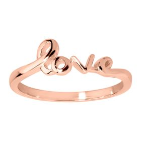 'Love' Script Ring, Rose