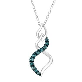 Twist Pendant with Blue Diamonds