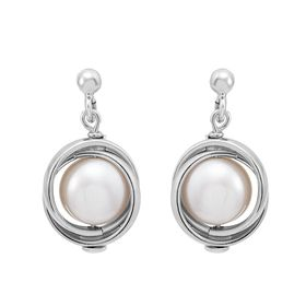 Pearl Love Knot Drop Earrings