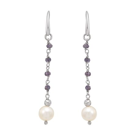 8-9 mm White Pearl & Iolite Drop Earrings