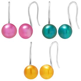 8-9 mm Multicolored Pearl Drop Earrings Set