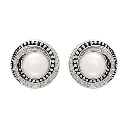 7.5-8 mm Pearl & 1/5 ct Diamond Swirl Stud Earrings