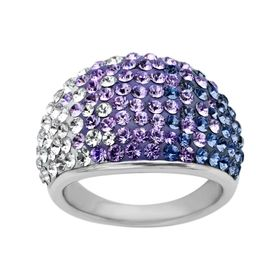Dome Ring with Lavender Swarovski Crystals