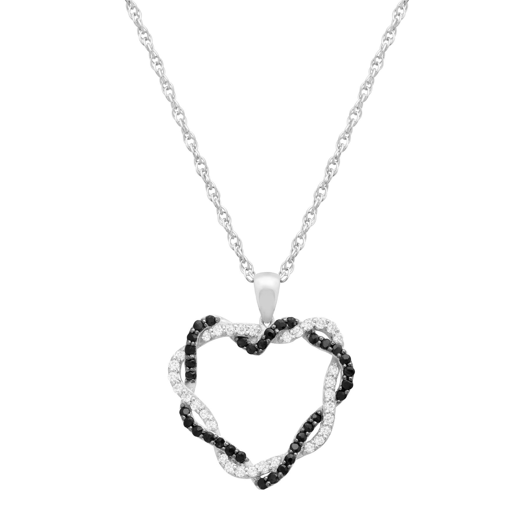 34 ct natural black white sapphire heart pendant necklace in 34 ct black white sapphire heart pendant aloadofball Images