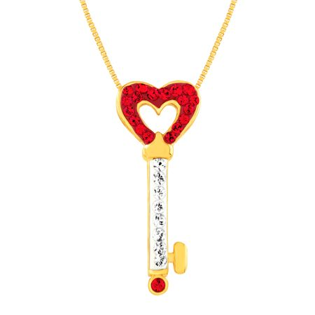 00f8dfb7a13e Key Pendant with Swarovski Crystal in 18K Gold-Plated Sterling ...