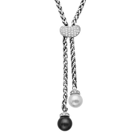 1/4 ct Diamond, Onyx & Pearl Necklace