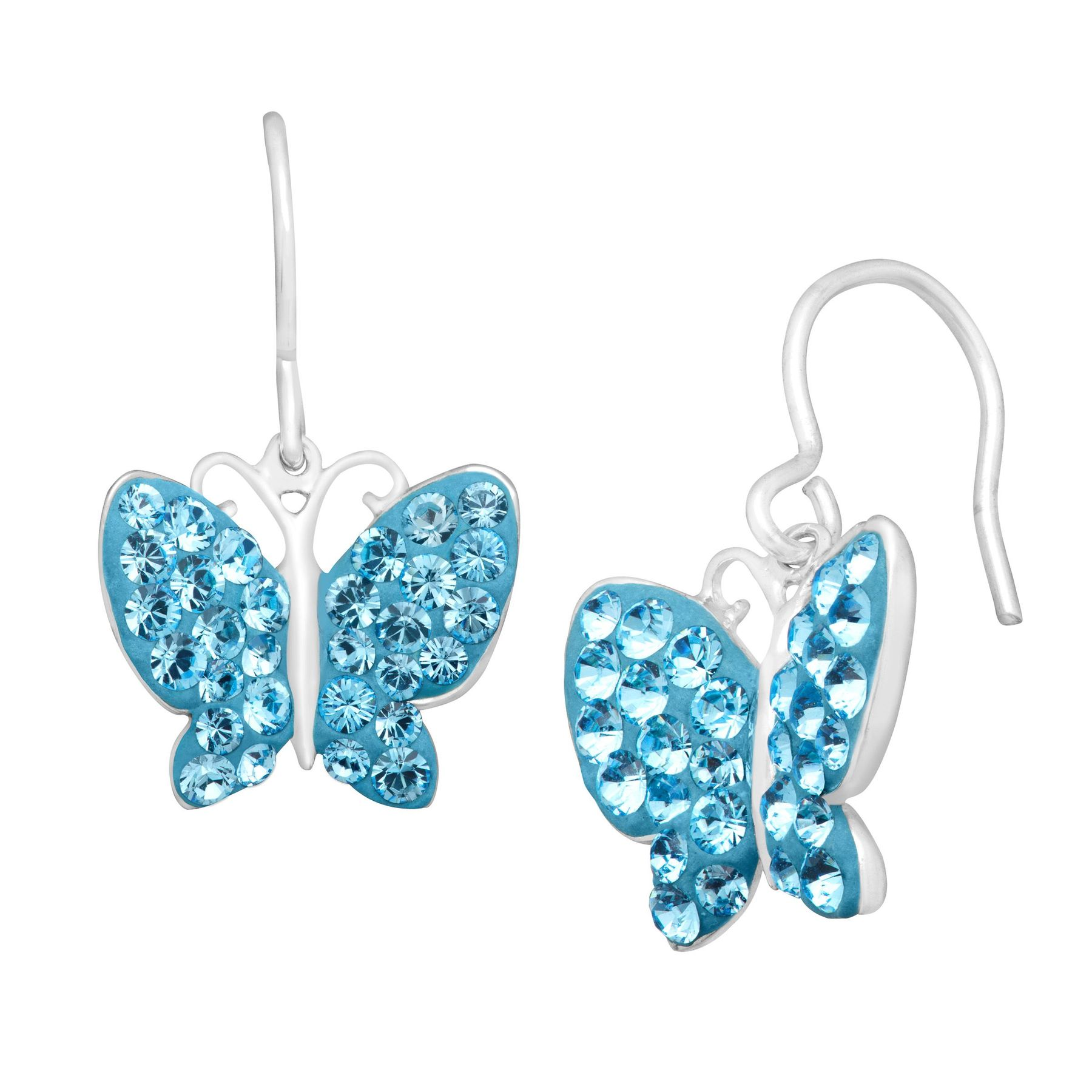 good selling reputation first latest releases Butterfly Earrings with Blue Swarovski Crystals in Sterling Silver