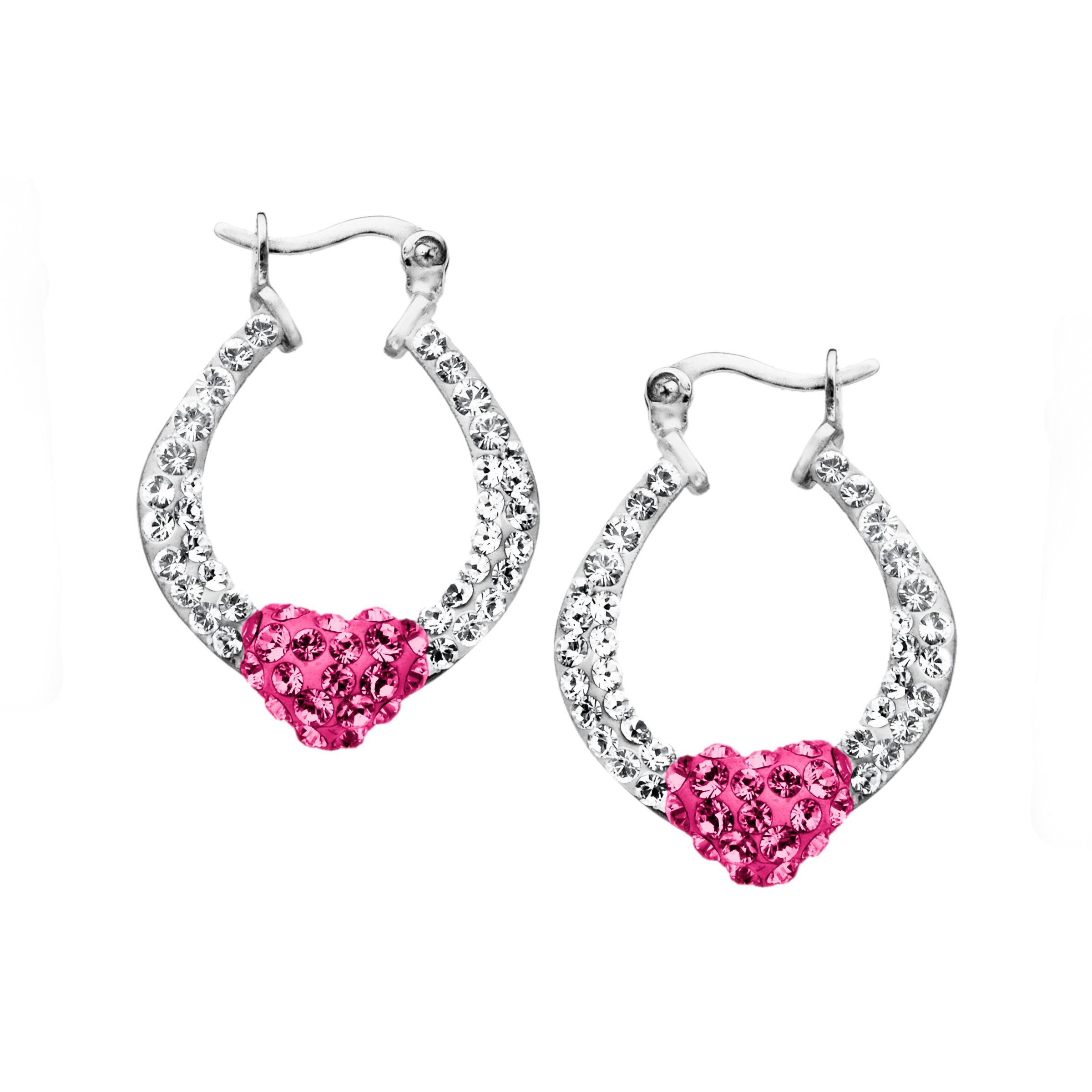 58dab6ffb2c6b9 Details about Heart Hoop Earrings with Rose & White Swarovski Crystal in  Sterling Silver