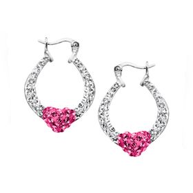 Heart Hoop Earrings with Swarovski Crystal