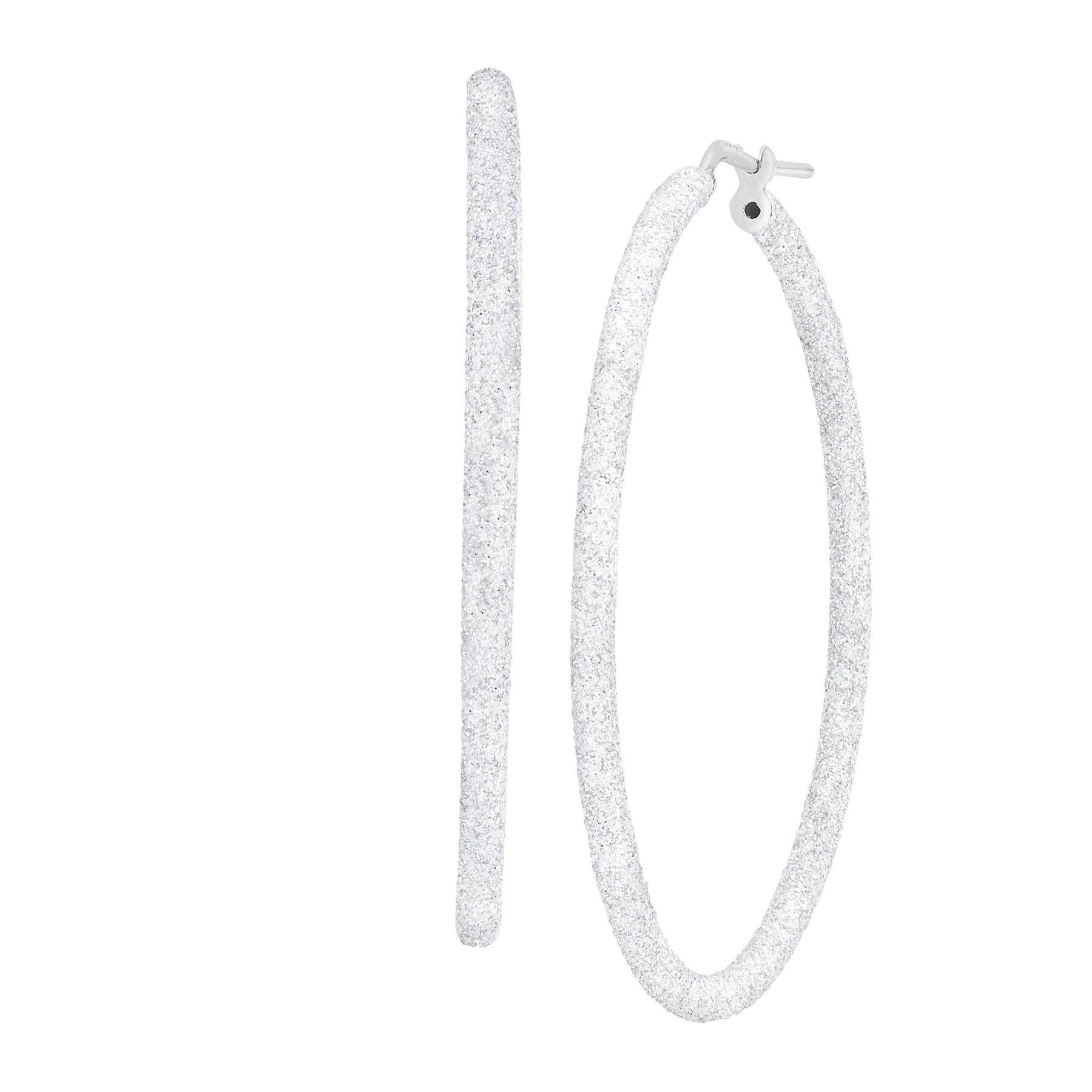 40 Mm Round Glitter Hoop Earrings