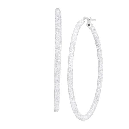 Glitter Hoop Earrings in Sterling Silver and Platinum Plate