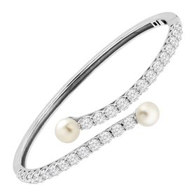 6-7 mm Pearl Bypass Bangle Bracelet with Cubic Zirconia