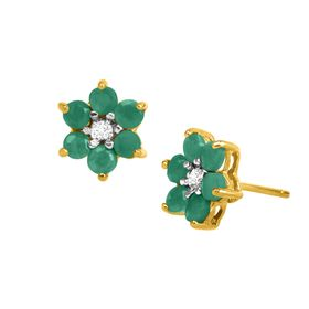 1 ct Emerald Flower Stud Earrings with Diamonds