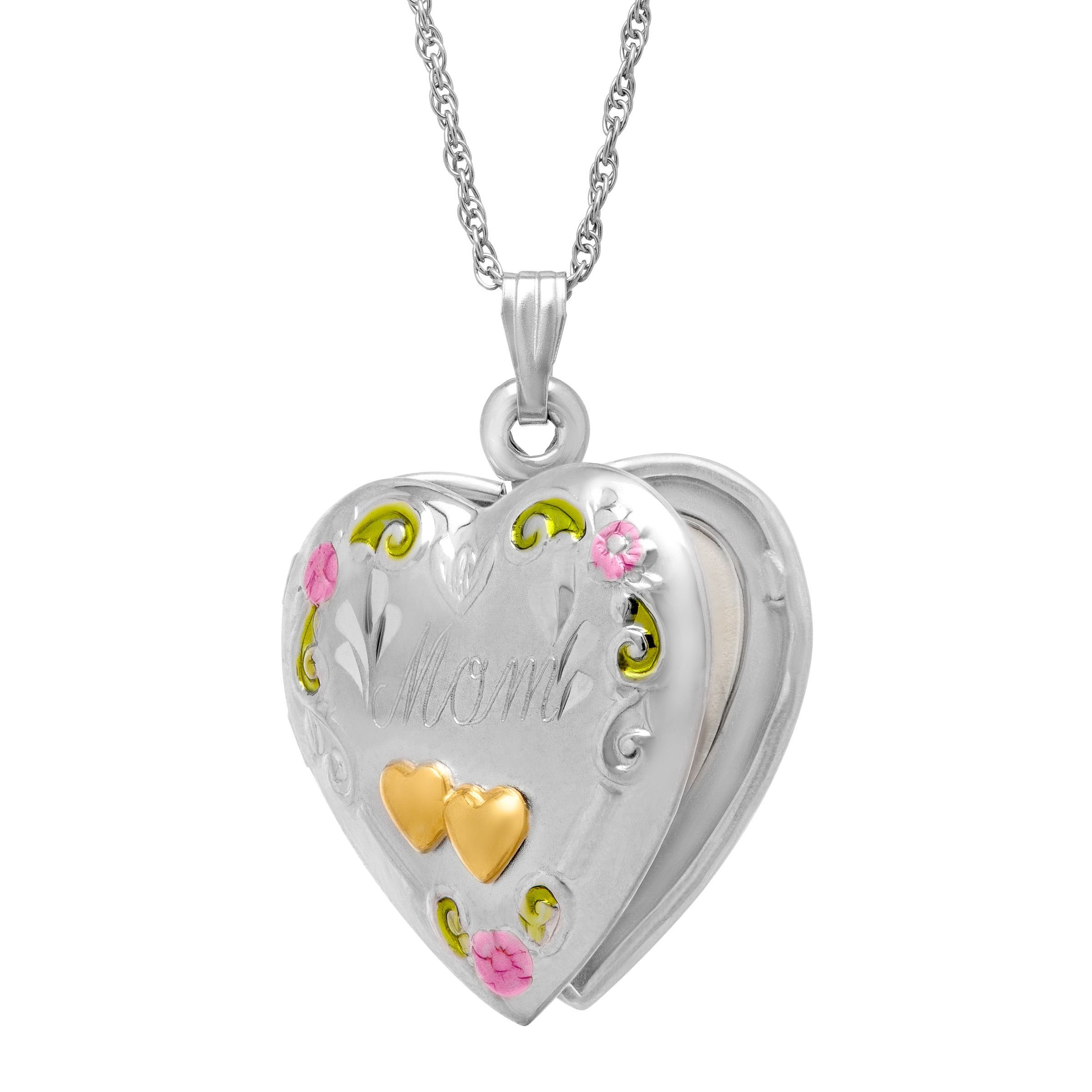 Double Heart /'Mom/' Locket in Sterling Silver and 14K Gold