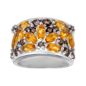 2 1/10 ct Citrine & Quartz Flower Ring
