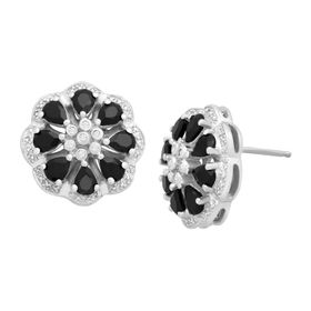 1 5/8 ct Onyx Flower Studs with Diamonds