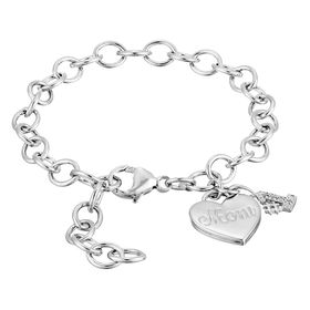 '#1 Mom' Heart Charm Link Bracelet with Diamonds