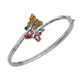 1 3/4 ct Multi-Color Natural Topaz Butterfly Bangle
