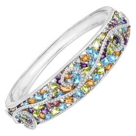 13 ct Multi Semi-Precious Stone & 3/8 ct Diamond Swirl Bangle