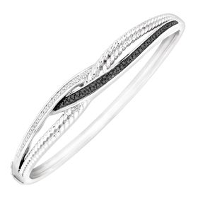 1/4 ct Black & White Diamond Bangle Bracelet