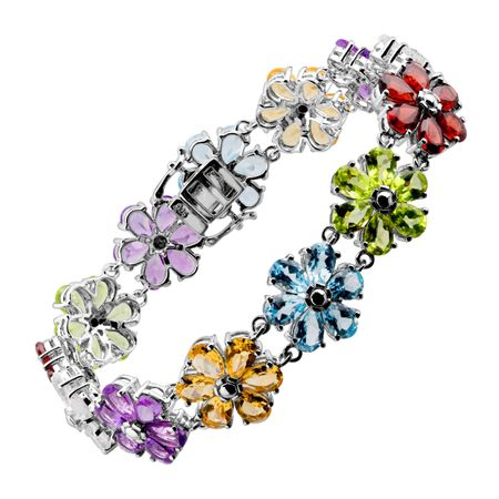 34 ct Multi-Stone Flower Link Bracelet