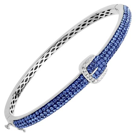 Buckle Bangle with Blue & White Swarovski Crystals