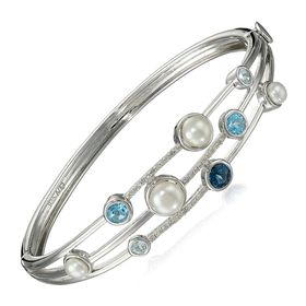 Pearl, Blue Topaz & 1/5 ct Diamond Bangle