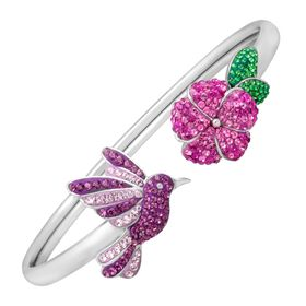 Hummingbird Bangle Bracelet with Swarovski Crystals