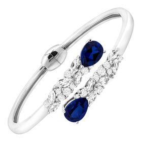 8 1/10 ct Blue & White Sapphire Bypass Cuff