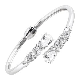 8 1/5 ct White Sapphire Bypass Cuff Bracelet