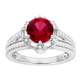 3 1/3 ct Ruby & White Sapphire Ring