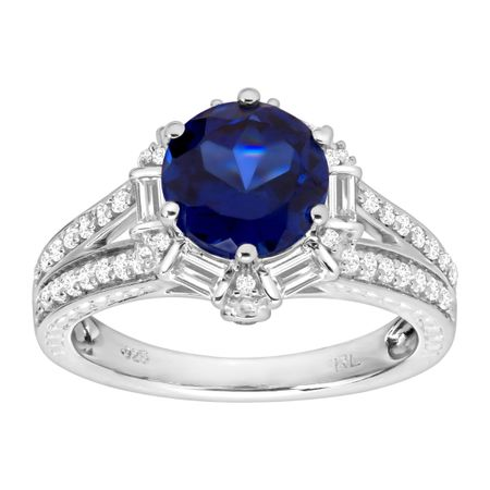 3 1/2 ct Blue & White Sapphire Ring