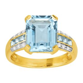 Aquamarine & Cubic Zirconia Ring
