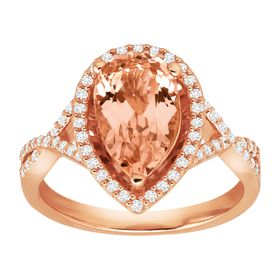 2 1/2 ct Morganite Ring with Cubic Zirconia