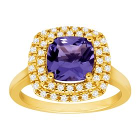 Tanzanite & Cubic Zirconia Halo Ring