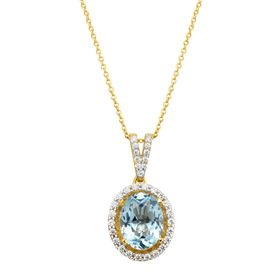 2 1/3 ct Aquamarine Pendant with Cubic Zirconia