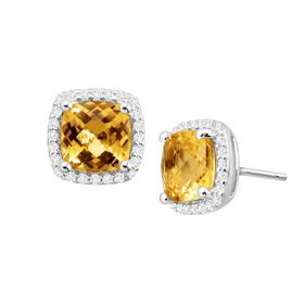 Citrine & White Sapphire Stud Earrings