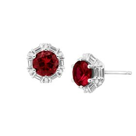 Ruby & White Sapphire Stud Earrings