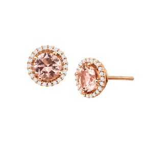 2 5/8 ct Morganite Stud Earrings with Cubic Zirconia