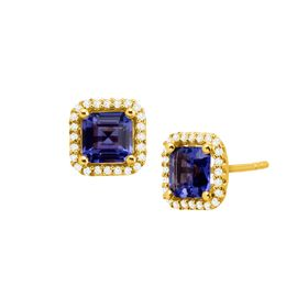 2 3/4 ct Tanzanite Stud Earrings with Cubic Zirconia