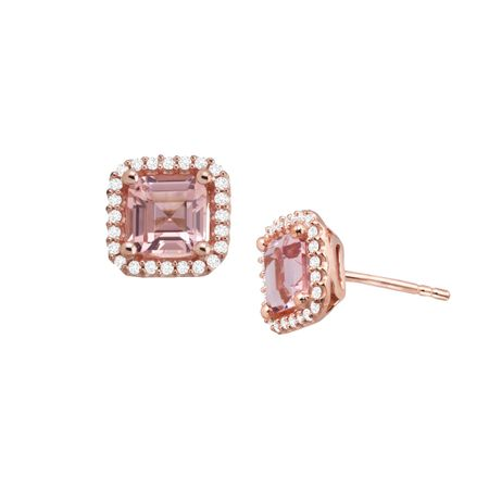 5f5228b66004e 2 3/4 ct Simulated Morganite Stud Earrings with Cubic Zirconia in 14K Rose  Gold-Plated Sterling Silver