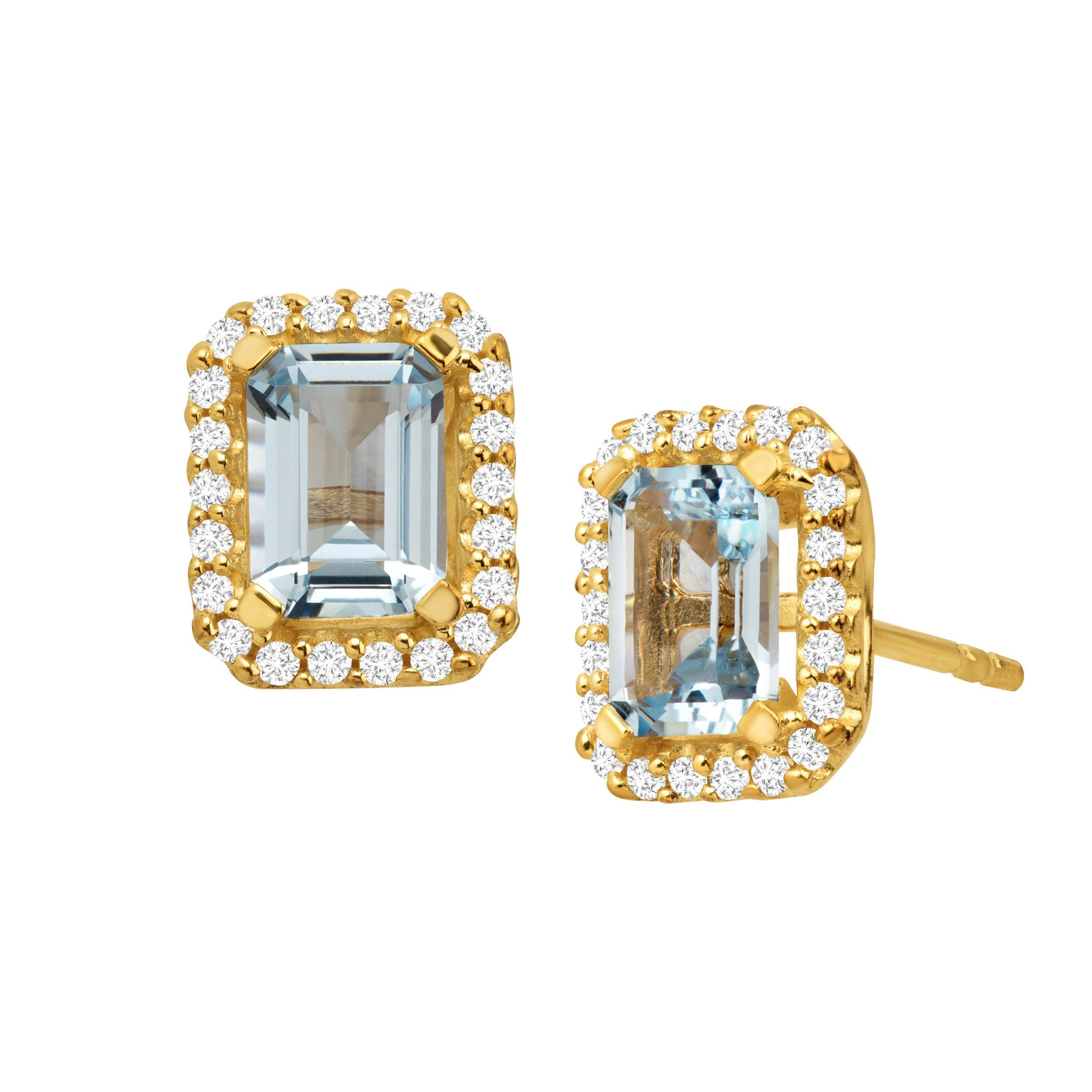 1 2 Ct Simulated Aquamarine Earrings With Cubic Zirconia 14k Gold Over Silver
