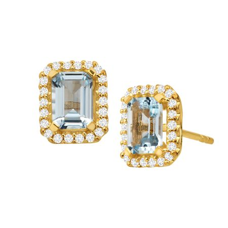 1 1/2 ct Aquamarine Stud Earrings with Cubic Zirconia