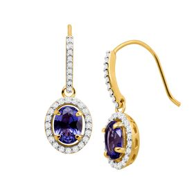 3 3/8 ct Tanzanite & Cubic Zirconia Drop Earrings