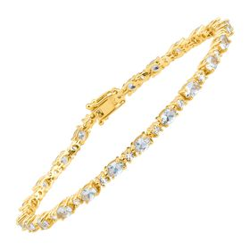 5 7/8 ct Aquamarine Tennis Bracelet with Cubic Zirconia